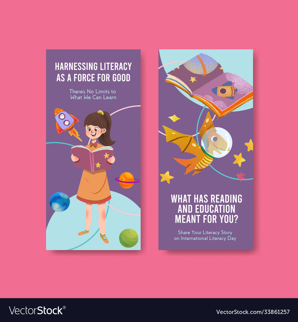 Flyer template with international literacy day