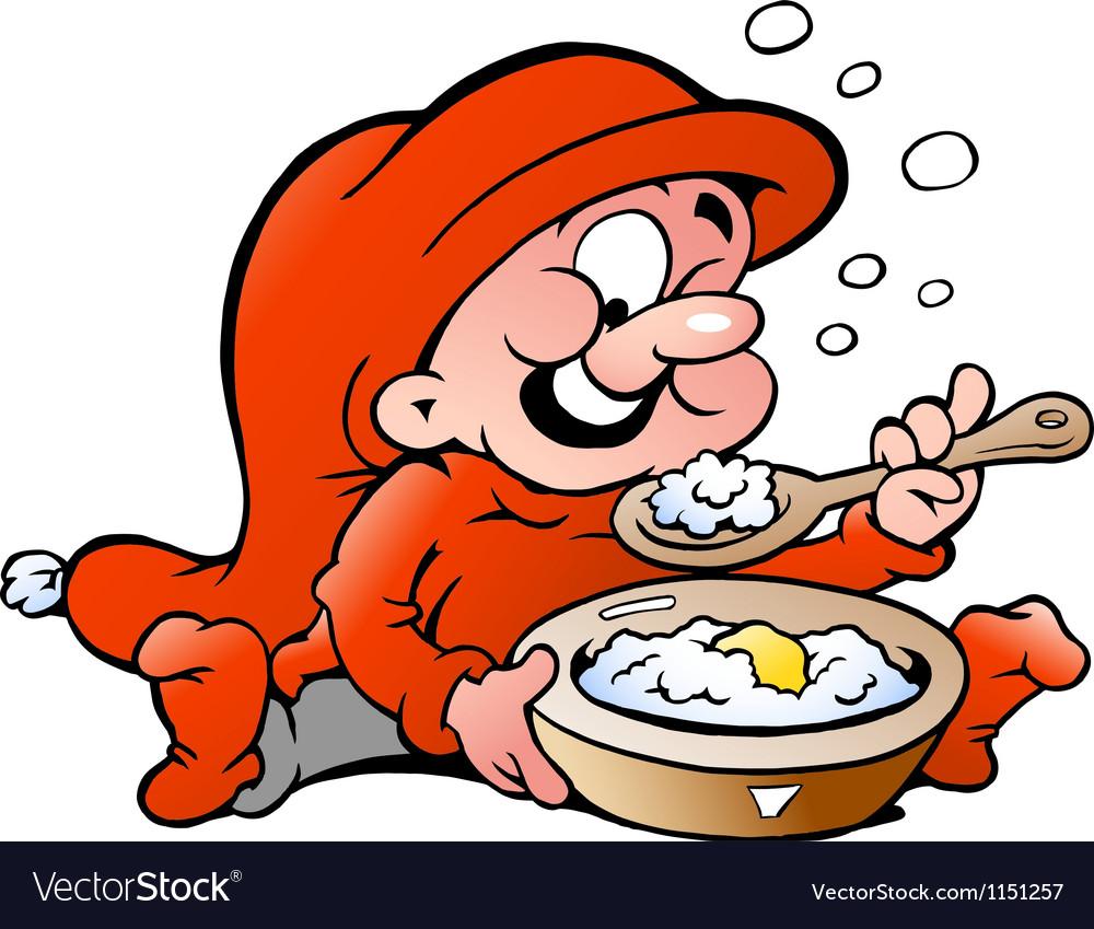 Hand-drawn of elf eating porridge