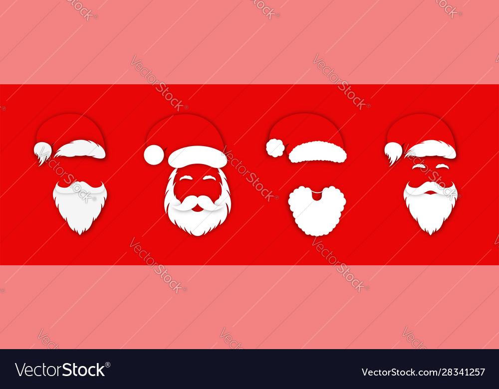 Santa claus hat with beard set christmas santa