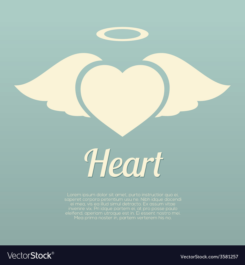 Single Heart Wings With Halo Symbol Royalty Free Vector