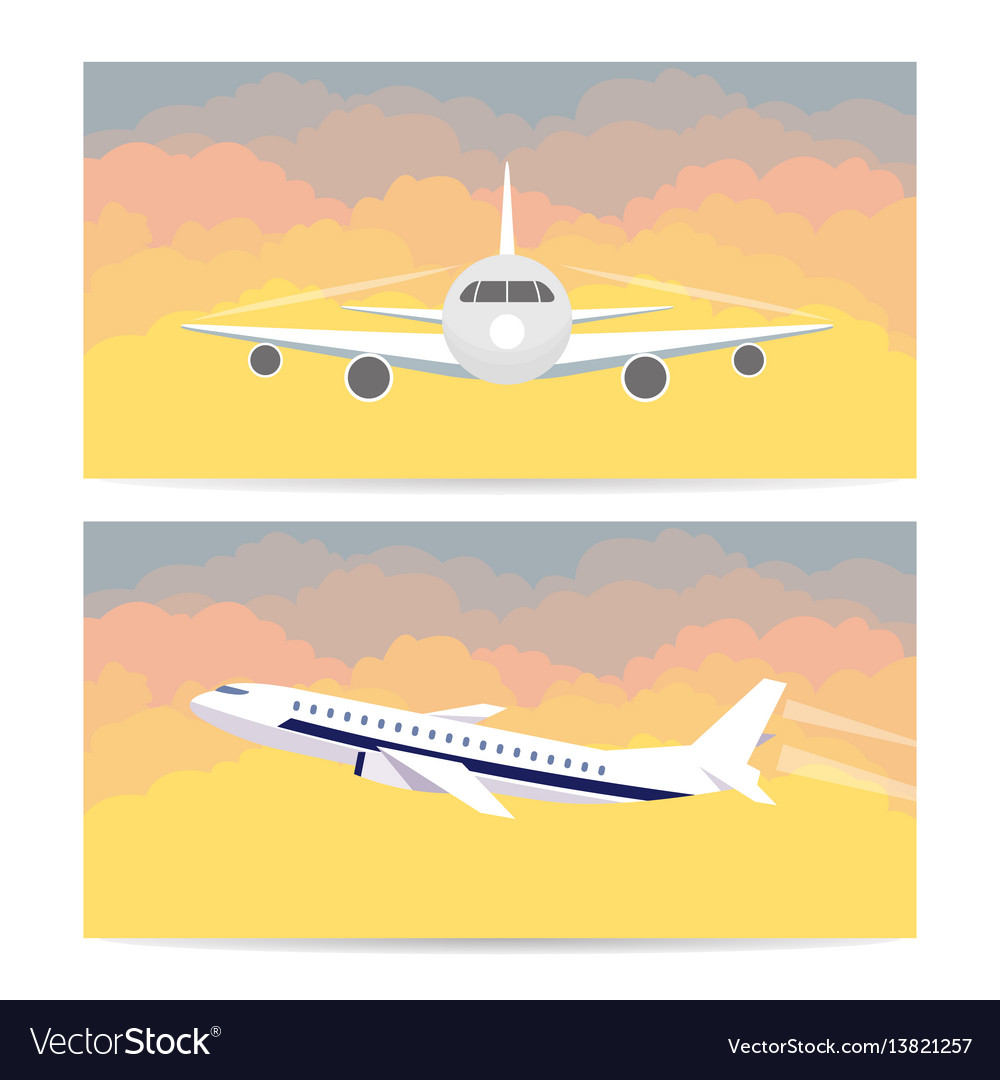 Travel on the plane set of banners in a flat style