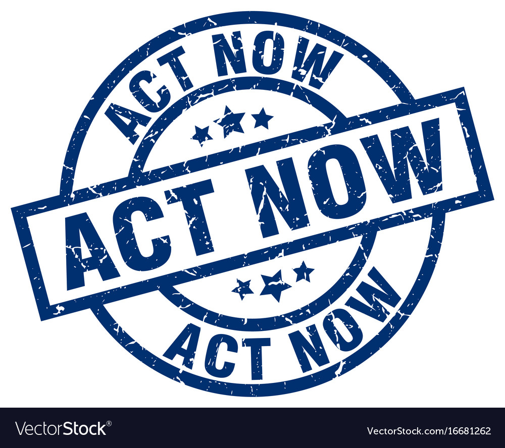 Act now blue round grunge stamp vector image