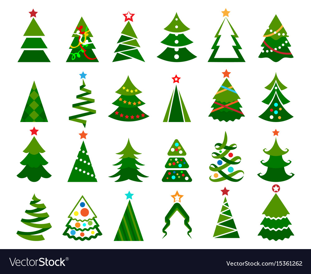 Christmas tree color set Royalty Free Vector Image