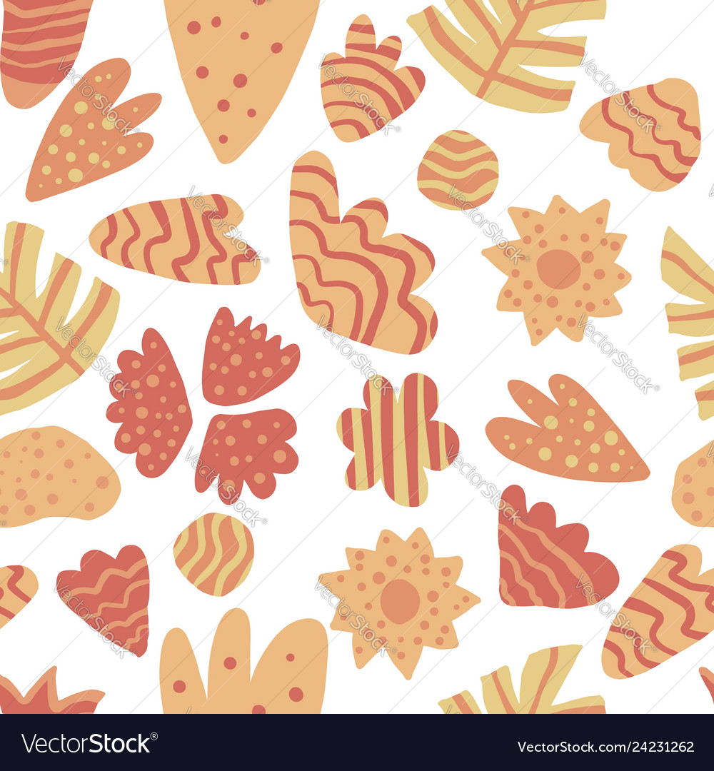 Contemporary leaves seamless pattern hand draw