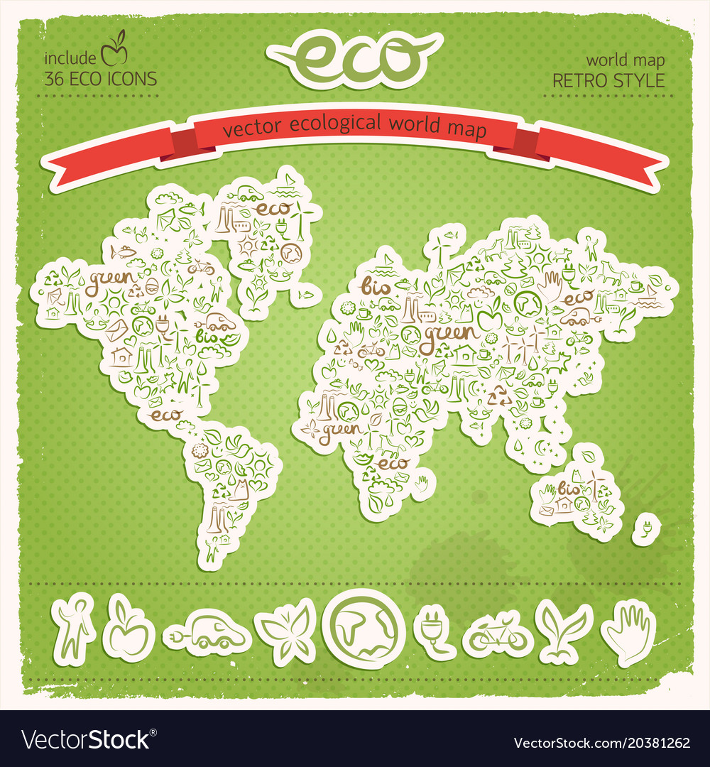 Eco earth map applique on green background vector image gumiabroncs Image collections