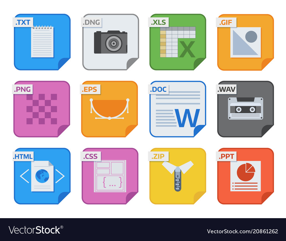 File types icons and formats labels file