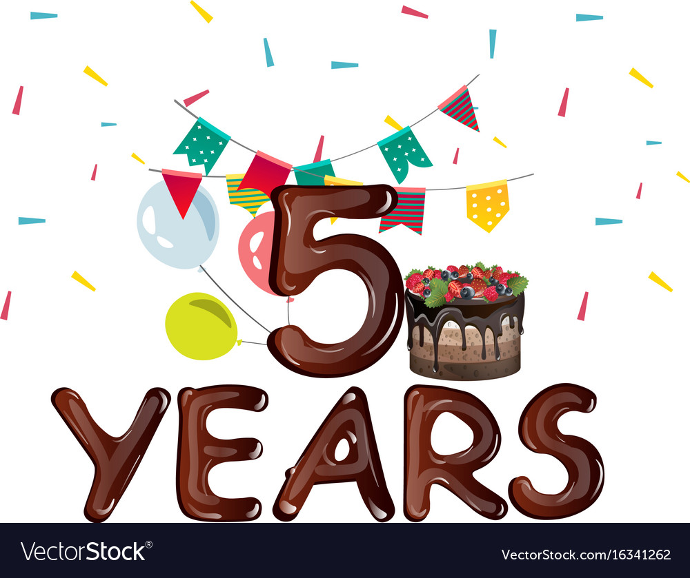 Five years birthday with balloons and ribbons vector image