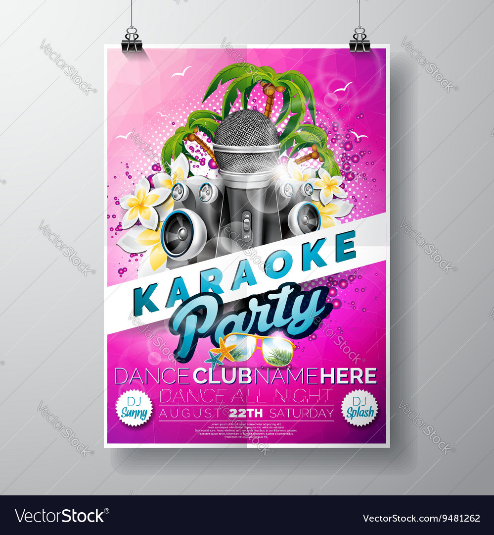 Flyer on a Summer Karaoke Party theme