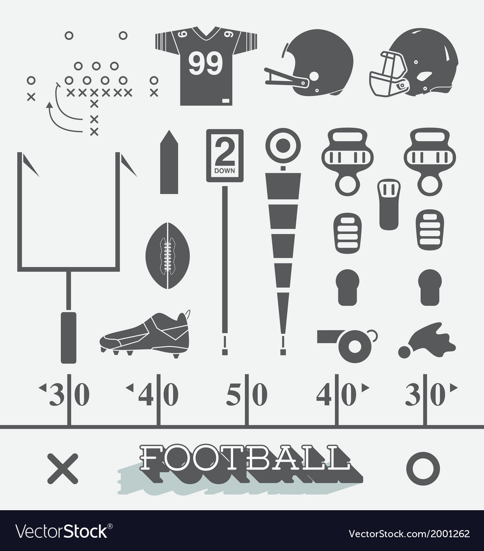 Football equipment icons and symbols