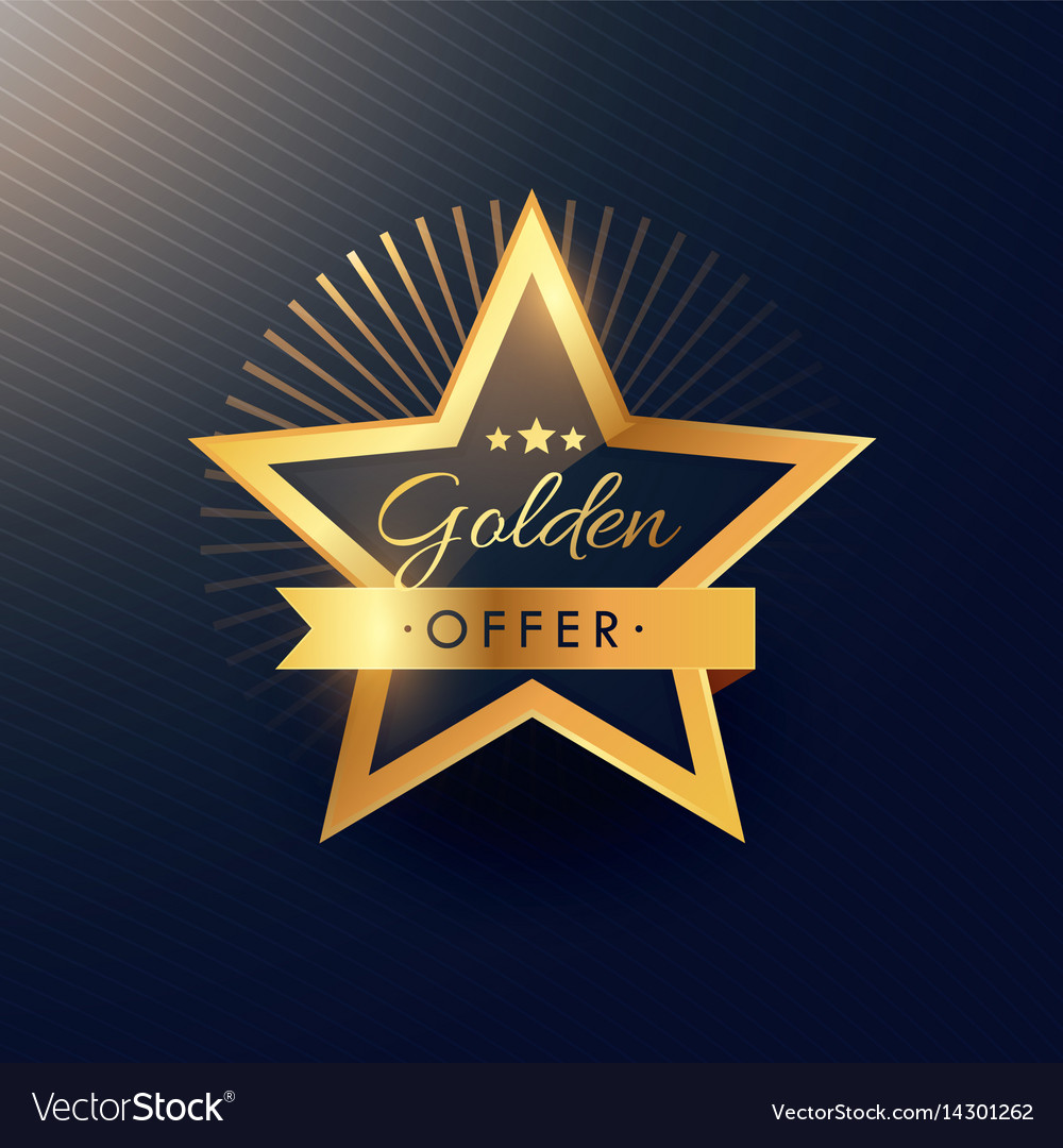 Golden offer label badge design in luxury and