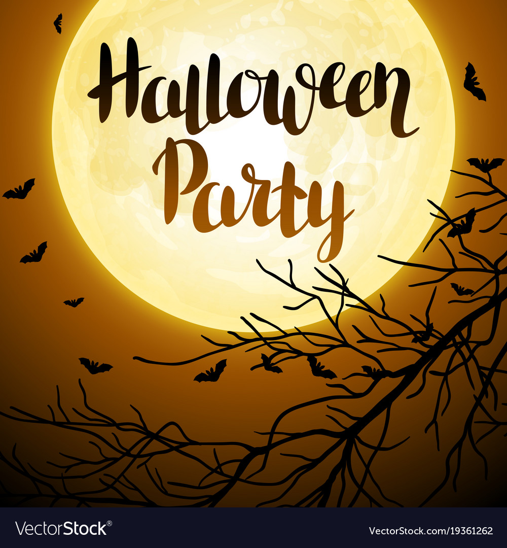 Halloween background with moon and tree branches