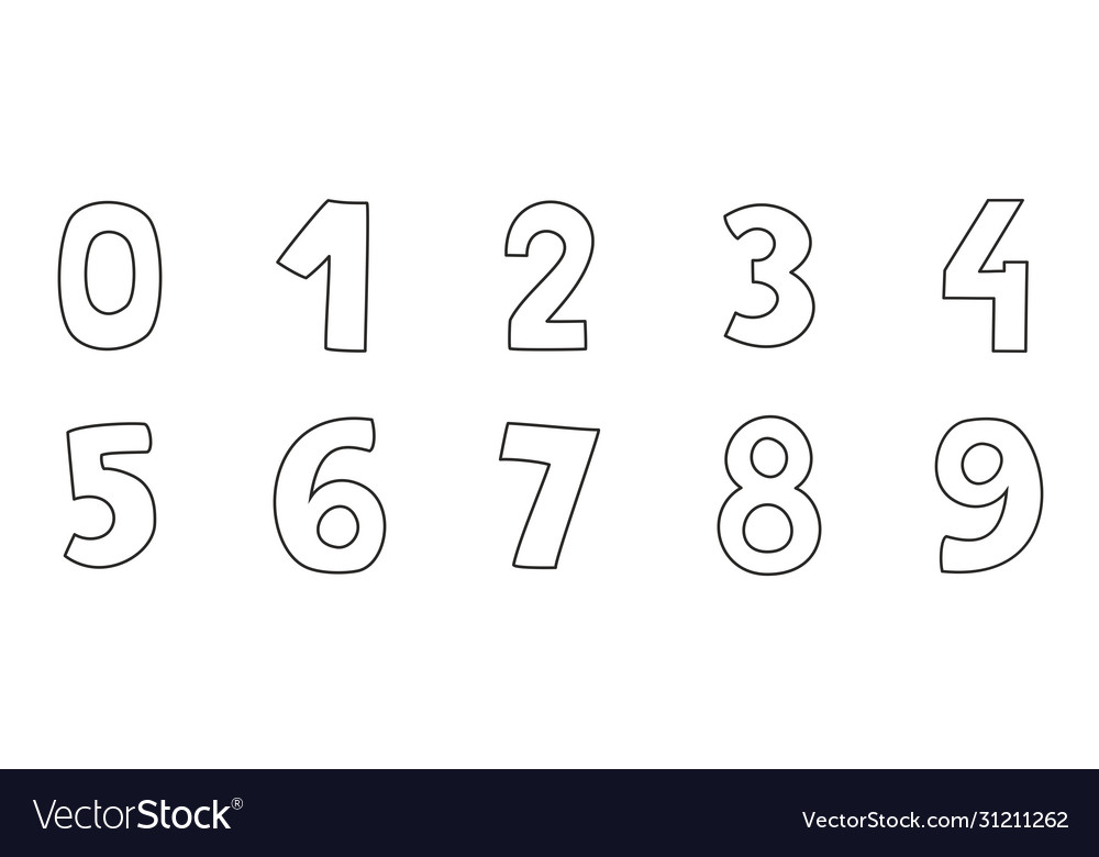 Hand drawn numbers isolated on white background