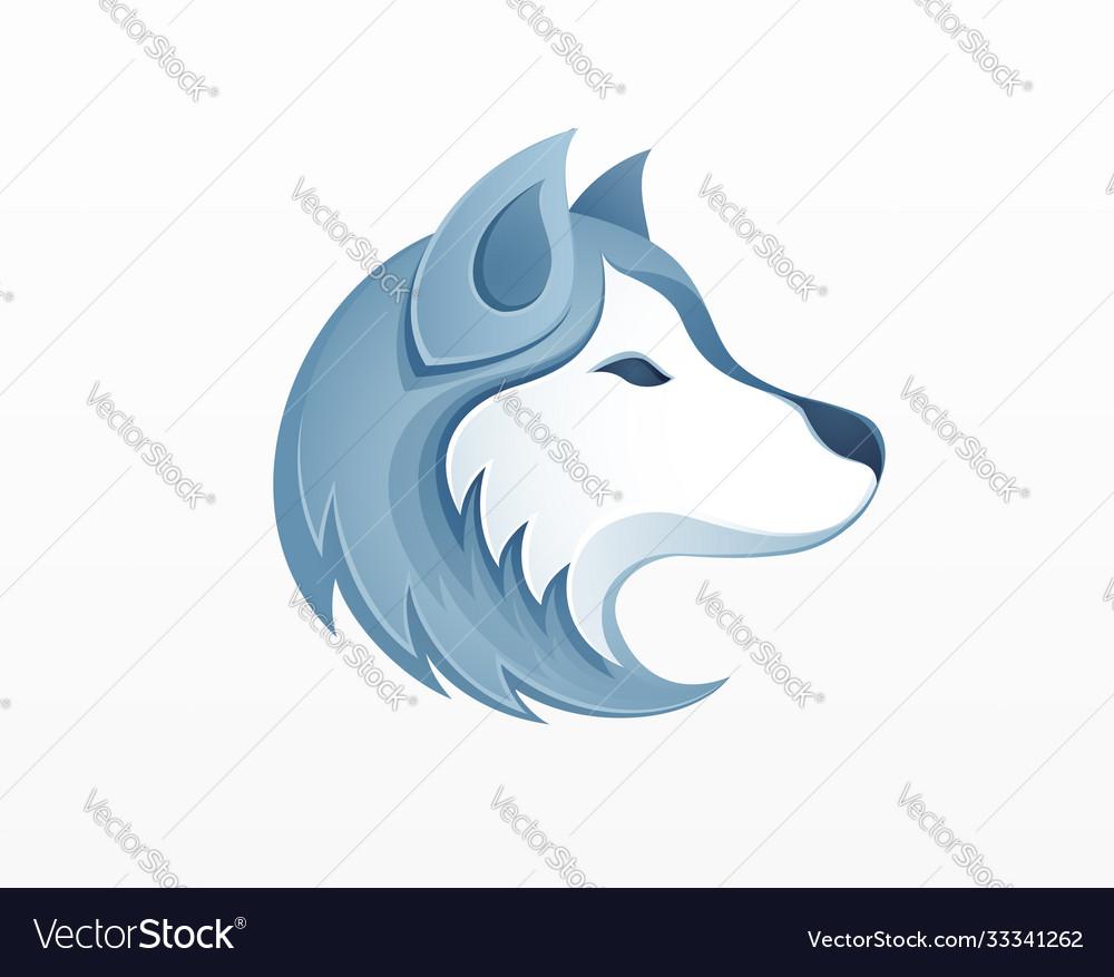 Husky dog head logo - winter outdoor siberian