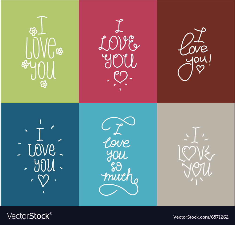 I love you hand drawn lettering inscription set