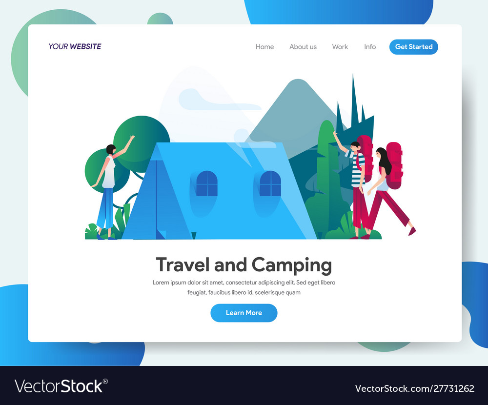 Landing page template travel and camping