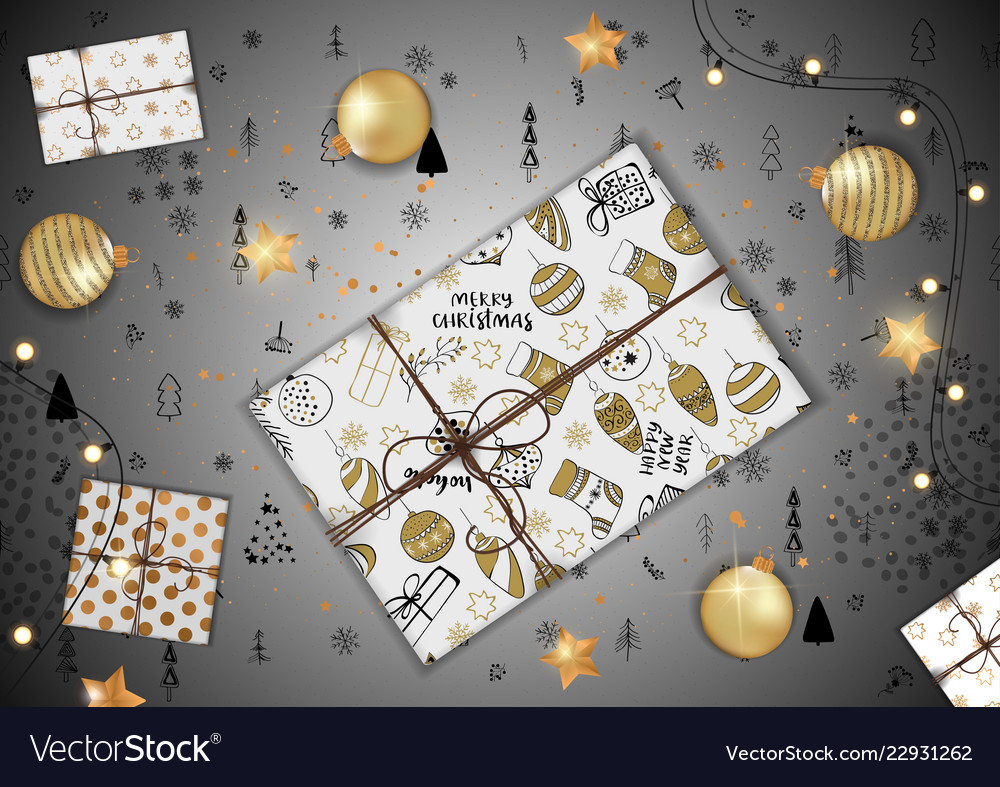 Merry christmas greeting card with creative gift