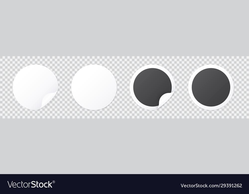 Round sticker template with peel corner black