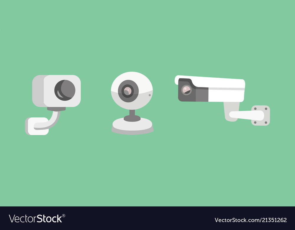Set Security Camera Cctv Cartoon Royalty Free Vector Image
