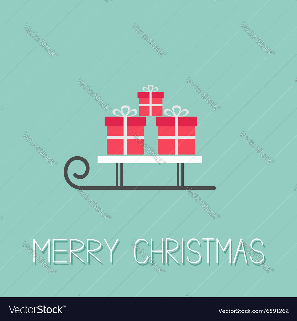 Sleigh with three gift box Blue background Merry