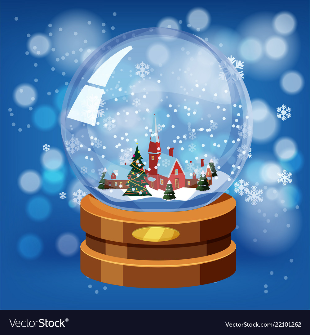 Snow globe with shiny snow and winter landscape
