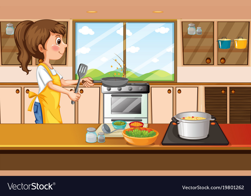 Woman cooking in kitchen Royalty Free Vector Image