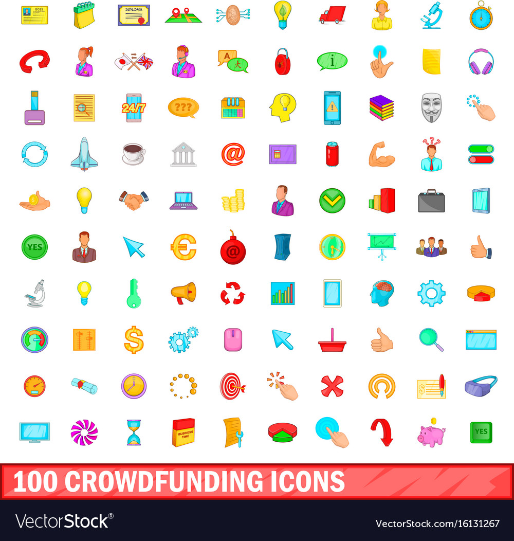 100 crowdfunding icons set cartoon style