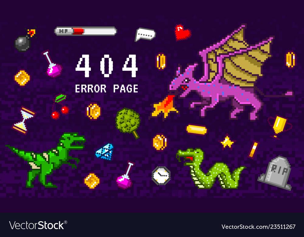 404 error page not found pixel art 8 bit objects