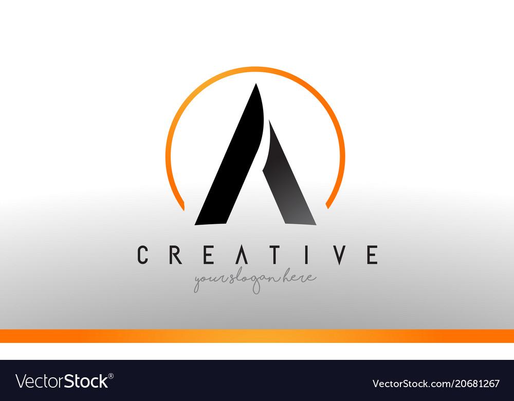 A letter logo design with black orange color cool Vector Image