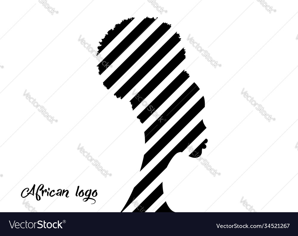 African american woman curly afro hairstyle logo