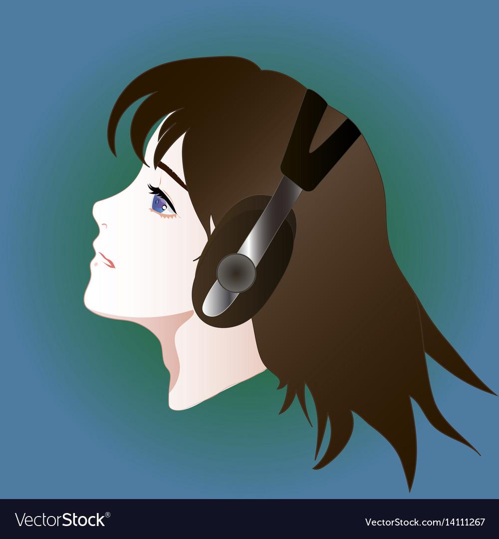 Anime style portrait of girl in headphones