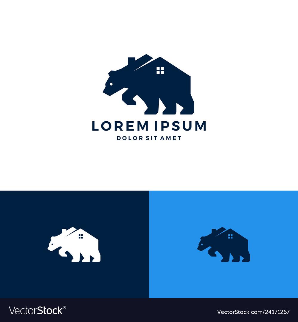 Bear house home roof window logo download