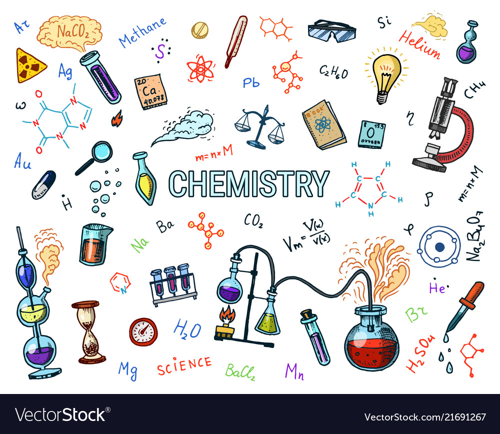 Chemistry of icons set chalkboard with elements