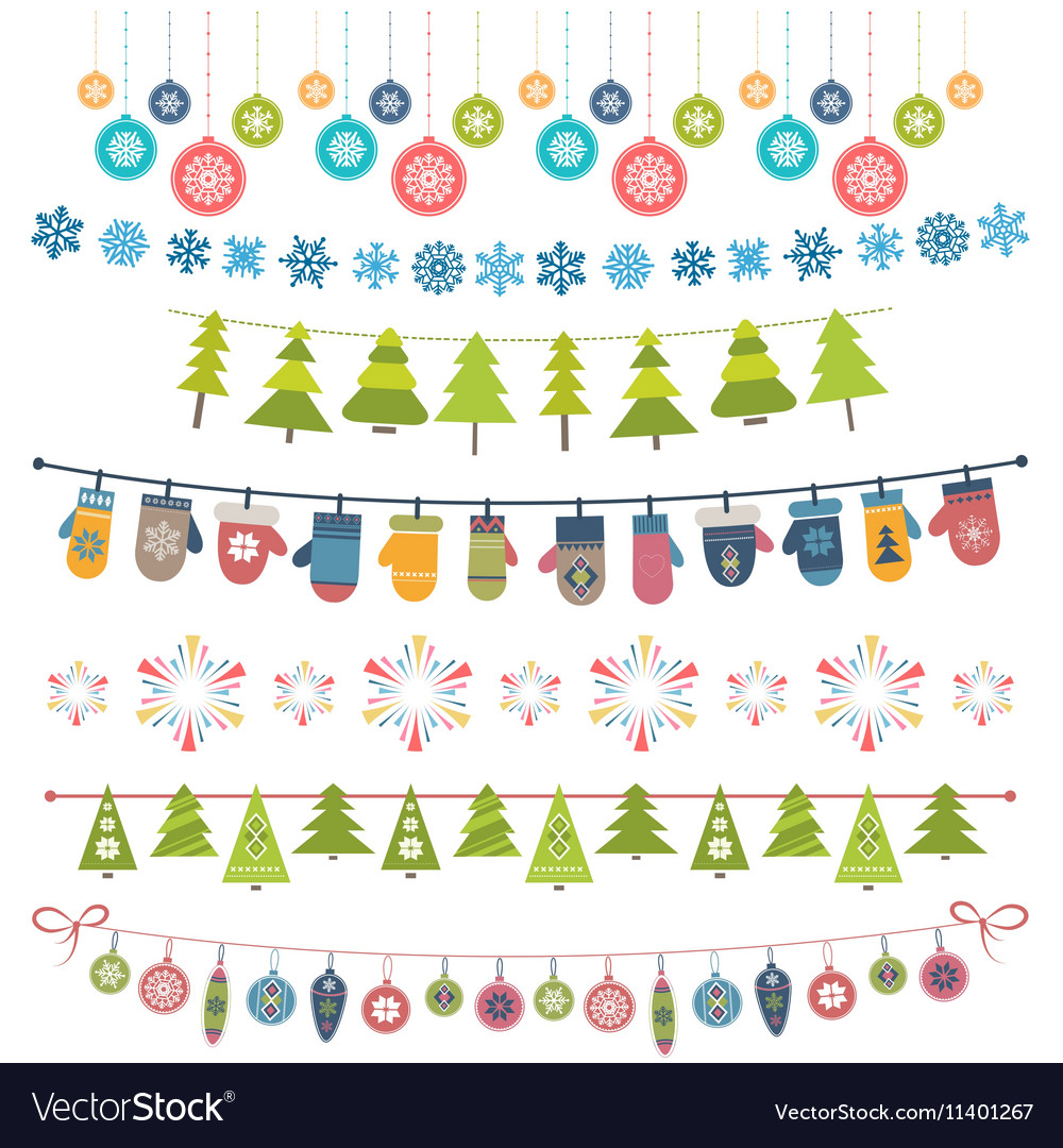 Christmas flags bunting and garlands Royalty Free Vector 3758a76d3127