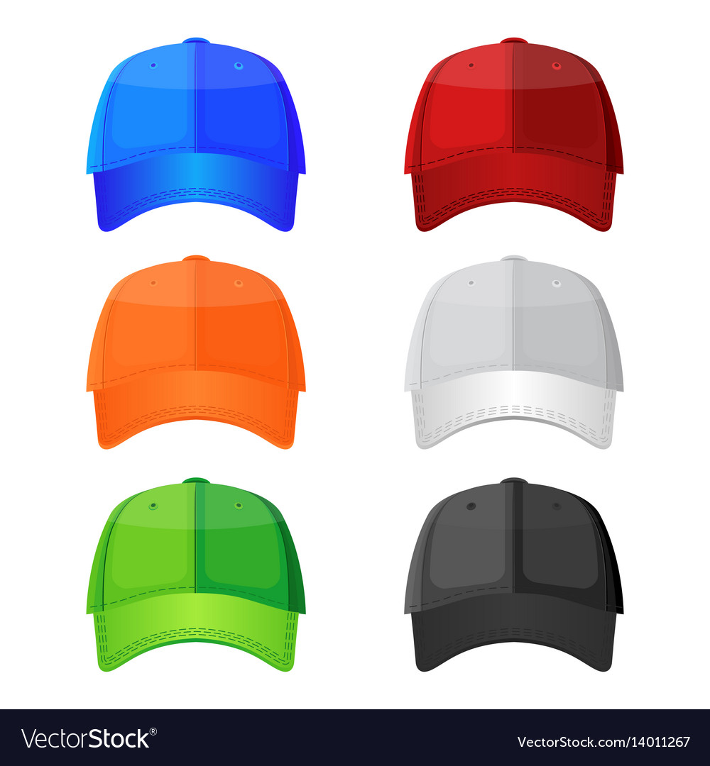Colorful baseball caps isolated on white vector image