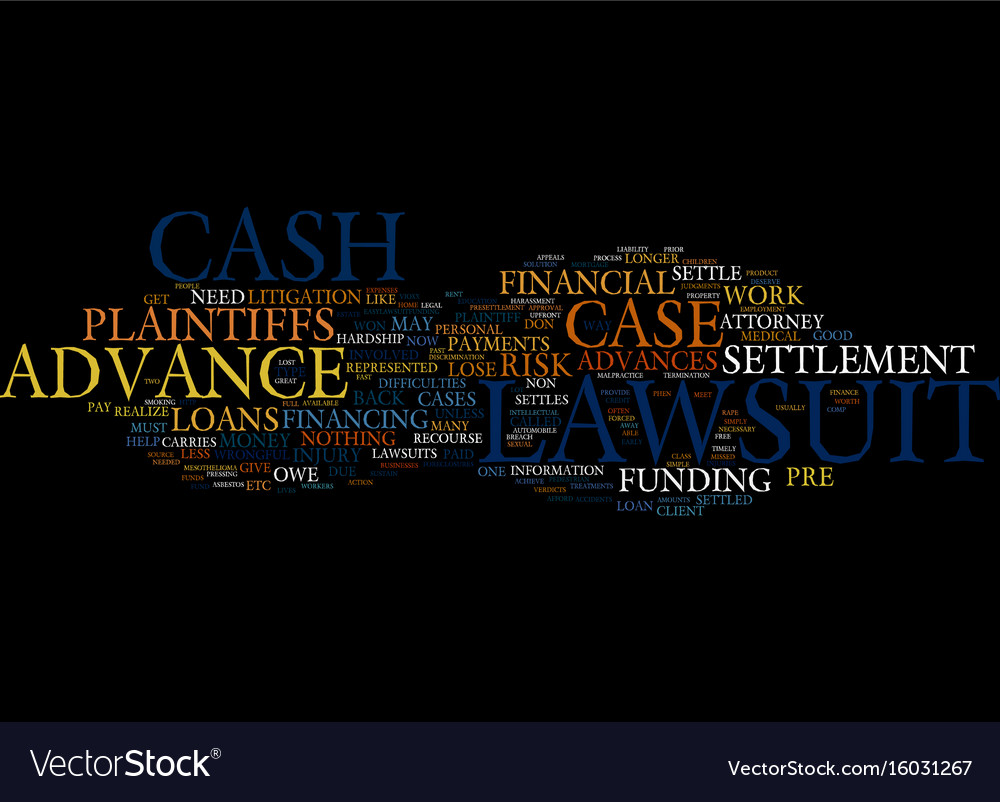 Lawsuit loan no risk fund how does it work text vector image