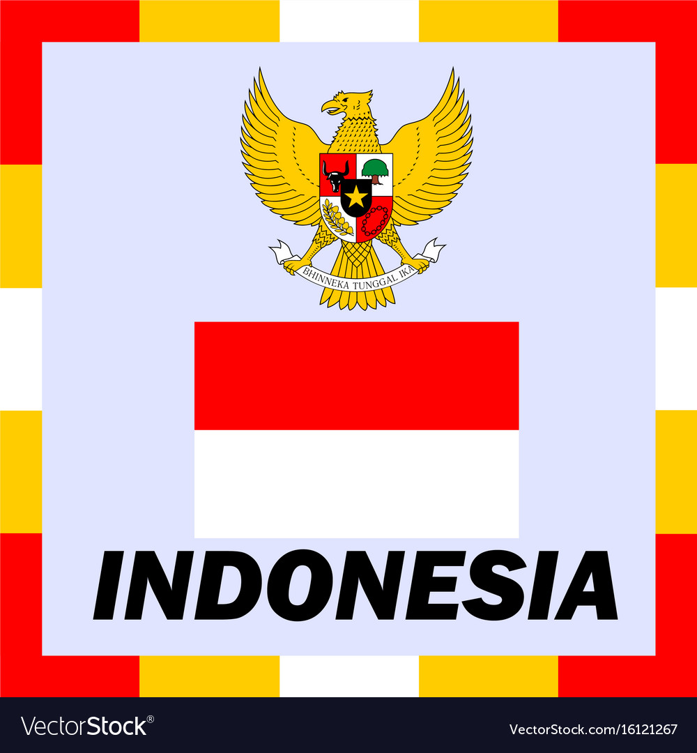 Official ensigns flag and coat of arm of indonesia