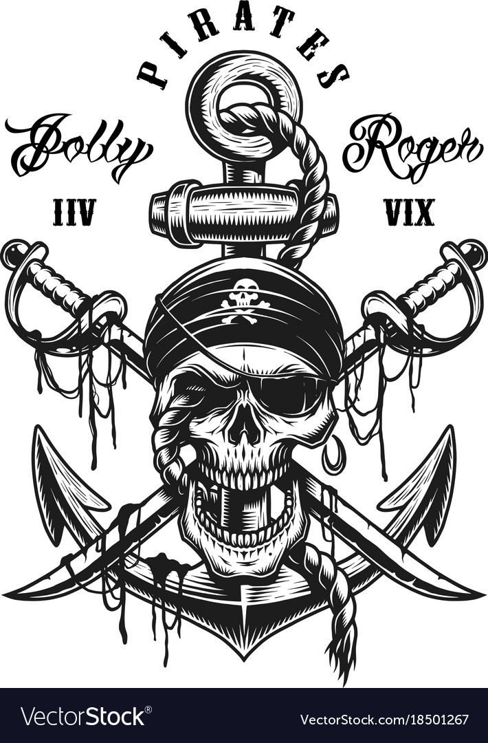 Pirate skull emblem with swords anchor