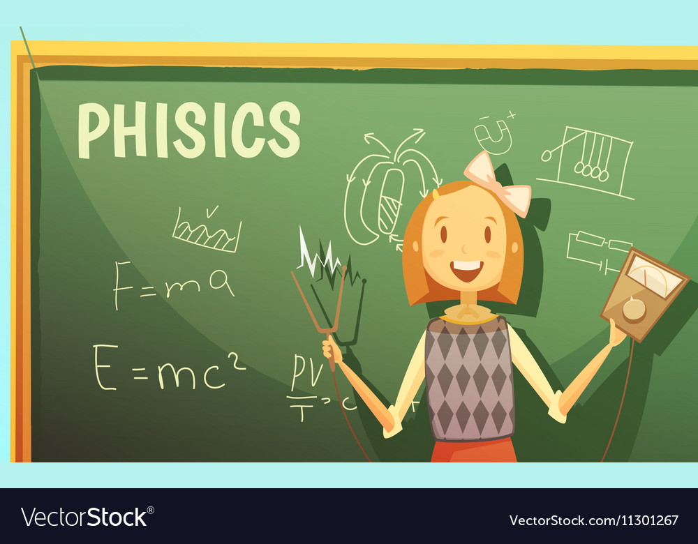 School Physics Education Classroom Cartoon Poster vector image
