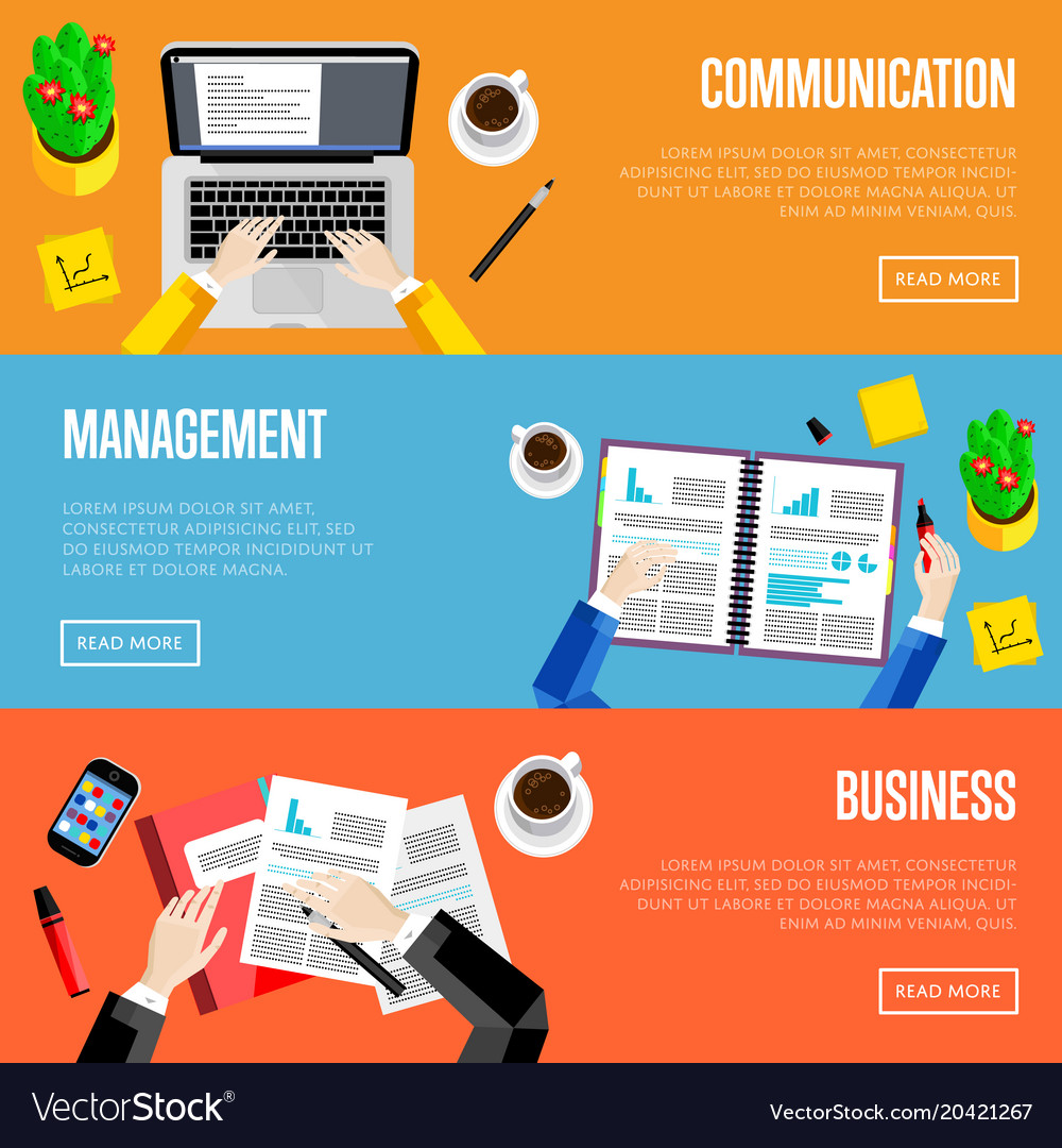 top view office workspace website templates vector image