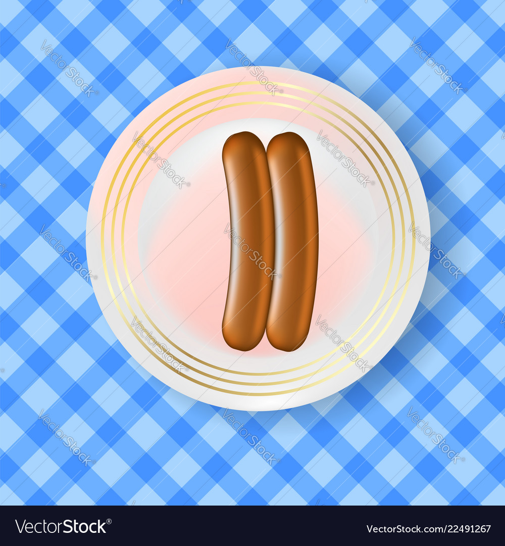 Two realistic boiled sausages