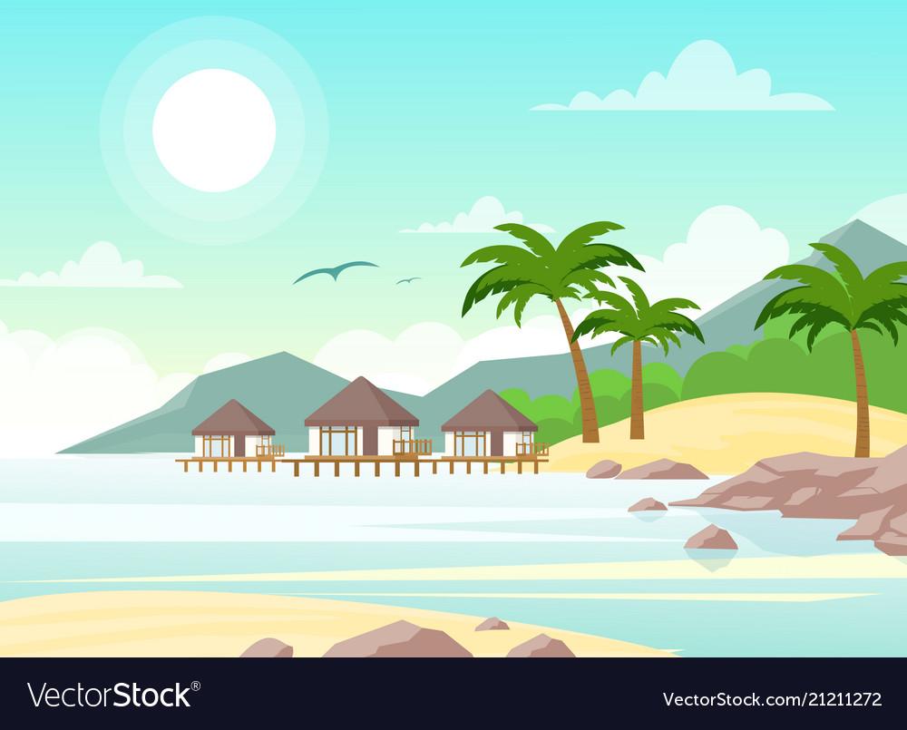 Beautiful seaside with vector image