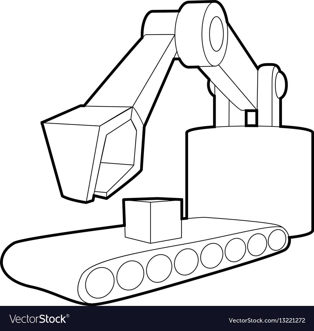 Big Excavator Icon Outline Style Vector Image
