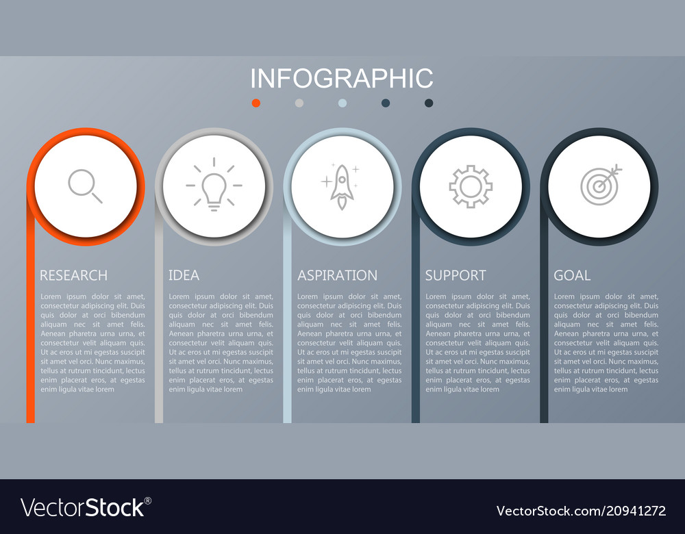 Business infographics presentation with 5 steps