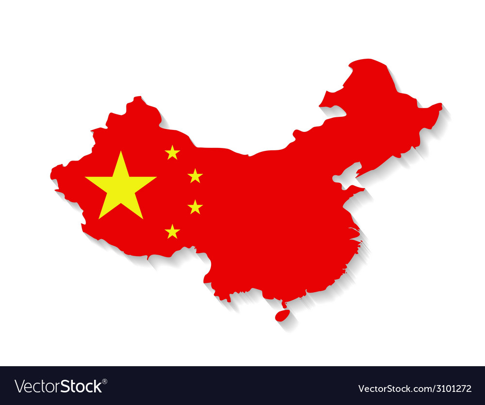 China flag map with shadow effect