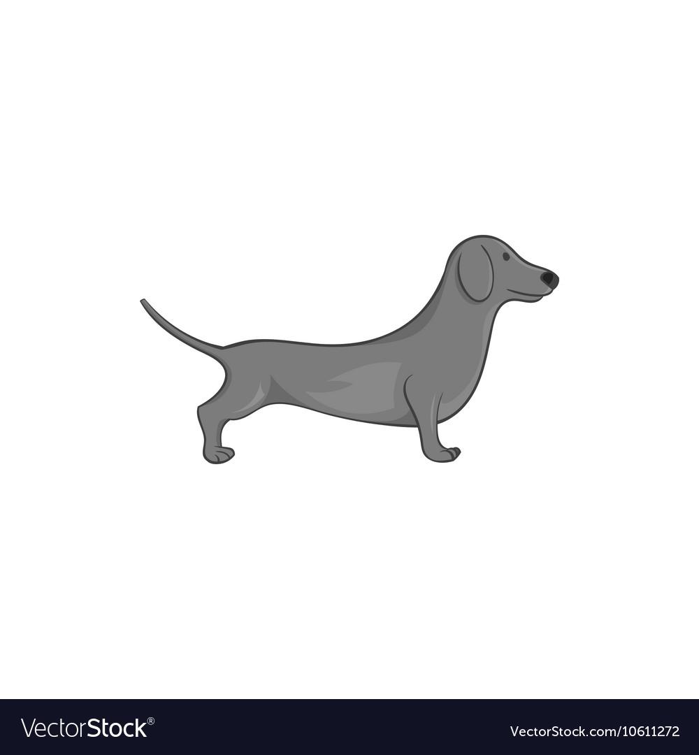 Dachshund dog icon black monochrome style vector image