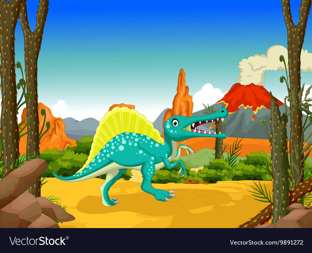 Funny dinosaur cartoon with forest background