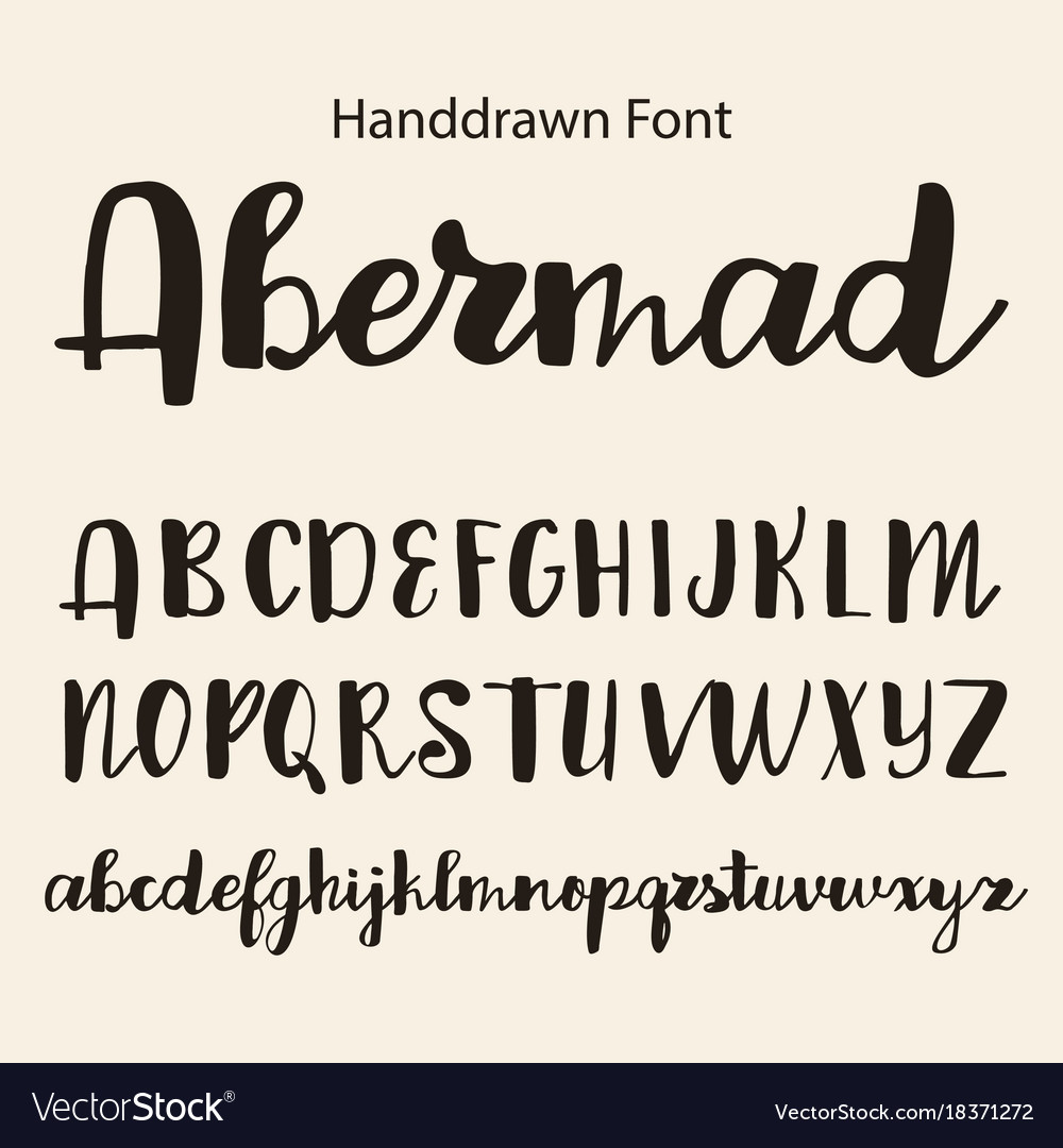 Hand drawn alphabet calligraphy letters royalty free vector