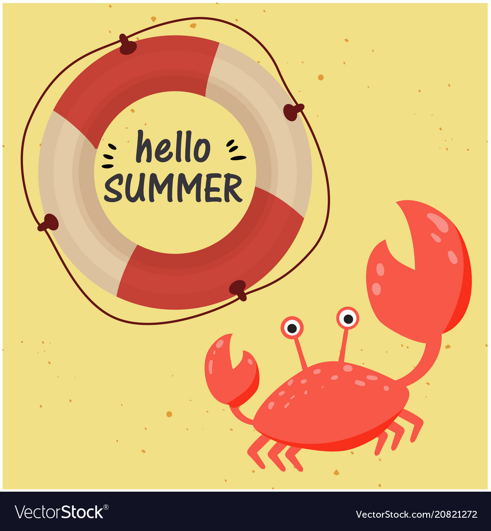 Hello summer lifebuoy crab yellow background