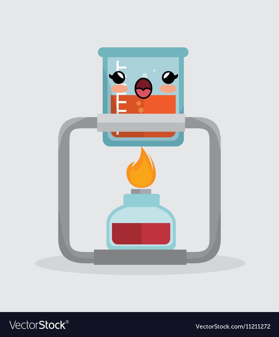 Kawaii beaker lab with bunsen burner chemistry Vector Image for bunsen burner with beaker  61obs
