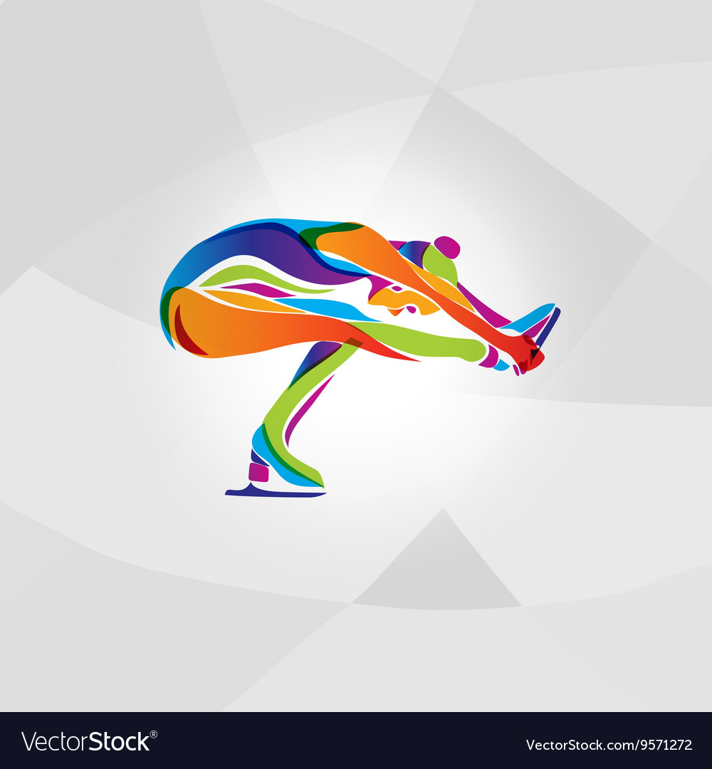 Multicolor silhouette of ice figure skating girl vector image